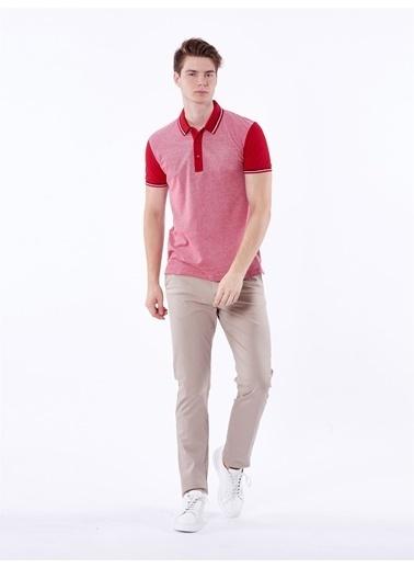 Dufy Polo Yaka Detayli Erkek T-Shirt - Slim Fit Kırmızı